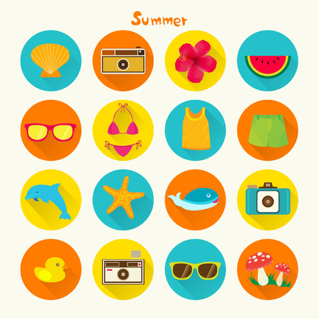 caribbean beach: Tropical Summer Holiday Vector Icon Set Design