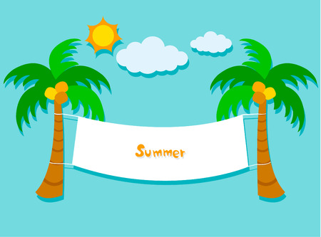 three palm trees: Summer Banner Card With Coconut Tree Design