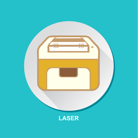 printing machine: Laser Printing Machine Icon Vector Illustration Set