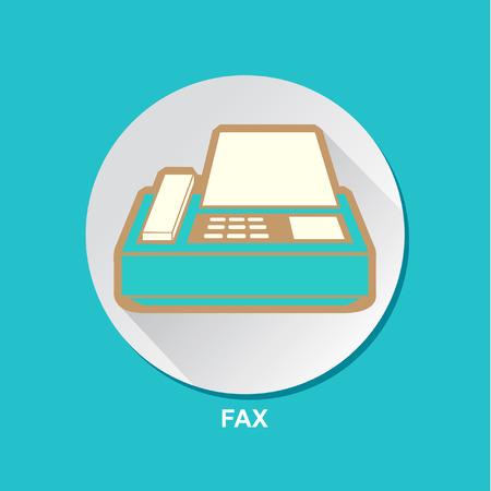 printing machine: Fax Printing Machine Icon Vector Illustration Set