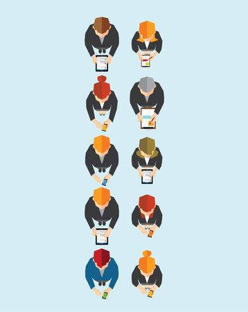 corporate team: Creative Business and Office Social Network Conceptual Vector Design Illustration