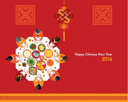 Oriental chino feliz Año Nuevo 2016 Diseño vectorial Foto de archivo - 49783511