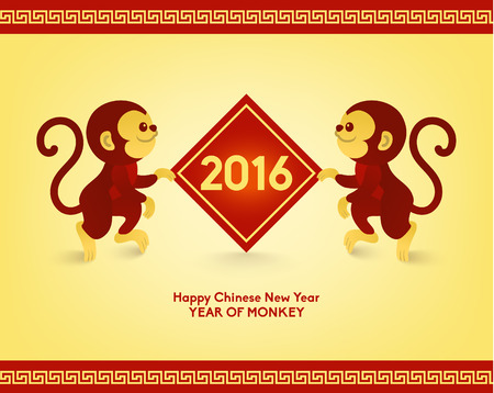 chinese new year: Happy Chinese New Year 2016 Year of Monkey Vector Design