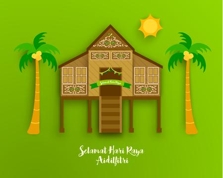 Eid Al Fitr Feiern Gruß Vector Design Illustration Standard-Bild - 62025181