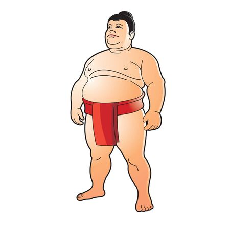 isolated Sumo wrestler standing in red loincloth