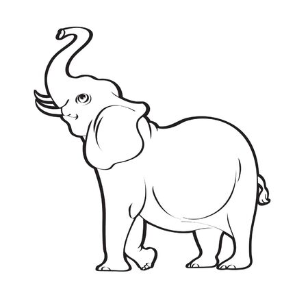 schwarzer Umriss isolierter Elefant, der Rüssel anhebt