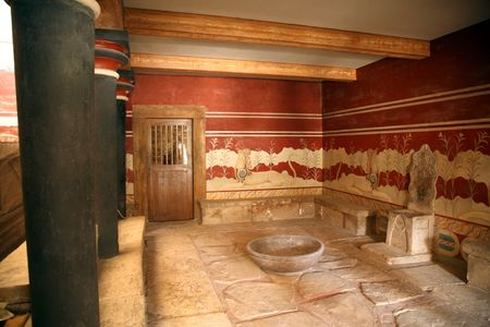 the throne hall of the knossos palace in crete