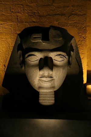 holydays: ramses head at night in luxor temple