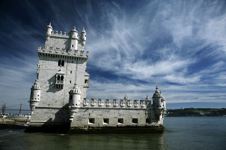 belem: tower of belem at lisboa in duero river
