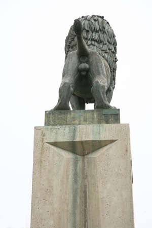 testicle: statue lions bottom on a pedestal Stock Photo