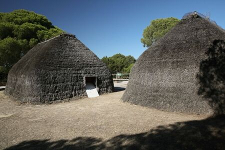 hovel: tribe cabins at donana park in spain