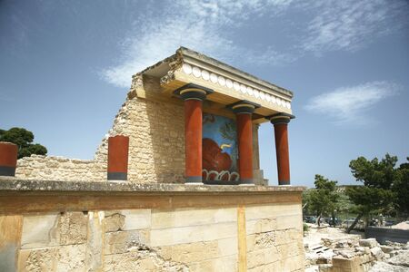 ruins of the knossos temple in crete greece