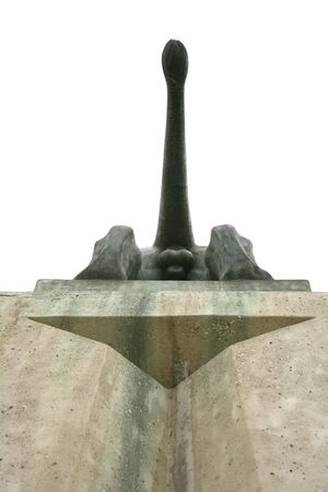 testicle: under view of a statue lions bottom on a pedestal Stock Photo