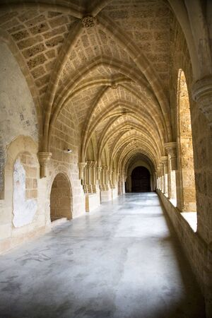 ruinous: cloister corridor at monasterio de piedra saragossa spain Stock Photo