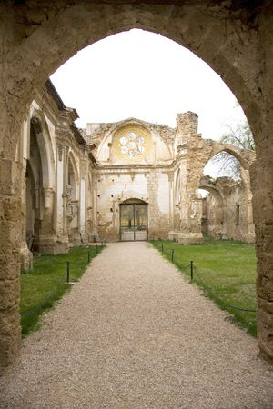 ruinous: ancient church at monasterio de piedra saragossa spain
