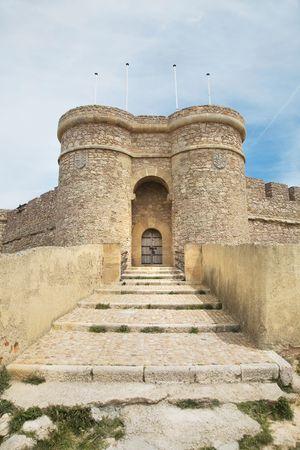 chinchilla: detail of the castle at chinchilla village in albacete spain