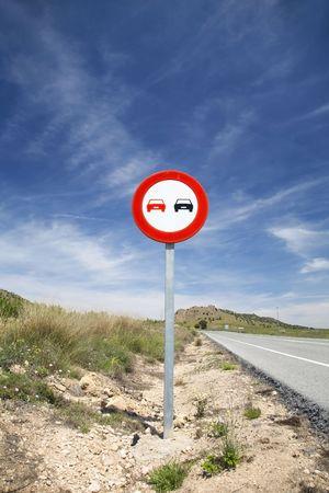 overtake: no overtake sign on a spanish higway Stock Photo