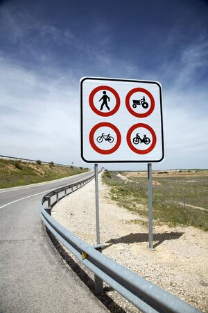 overtake: traffic limit sign on a spanish higway Stock Photo