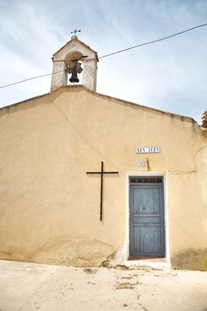 basic church with belfry at chinchilla albacete spain photo