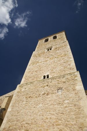 belmonte: tower of the church at belmonte village in spain