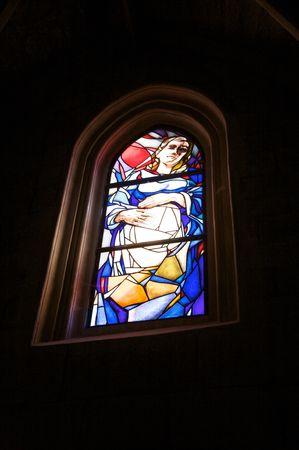 glasswork: glasswork inside public chiurch in santo domingo de la calzada town spain Stock Photo
