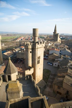 public castle of olite village in navarra spain
