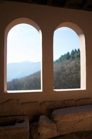 millan: public monastery of suso at san millan de la cogolla la rioja in spain