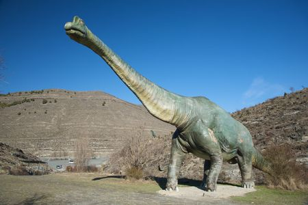 dinosaur great figure at public free access in la rioja spain