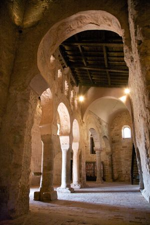 ruinous: public monastery of suso at san millan de la cogolla la rioja in spain