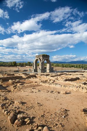 extremadura: ancient roman city of caparra in caceres extremadura spain
