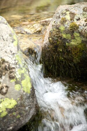landscape with river and rocks in gredos mountains at avila spain photo