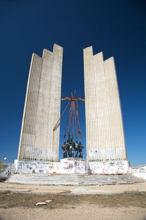 fascism: public free access abandoned ancient fascism monument in valladolid city spain