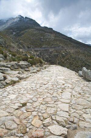 avila: ancient roman roadway at gredos mountains in avila spain Stock Photo