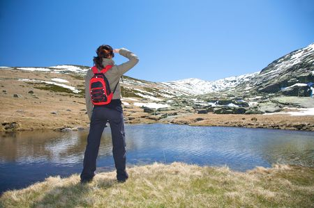 woman hiking at gredos mountains in avila spain
