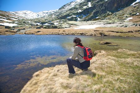 woman hiking at gredos mountains in avila spain Stock Photo - 5325137