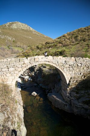 river with bridge at forest in avila spain photo
