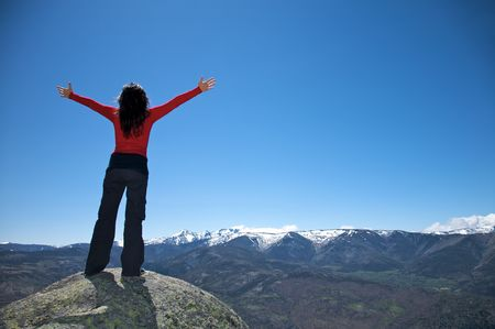 woman at the top of gredos mountains in avila spain Stock Photo - 5357711