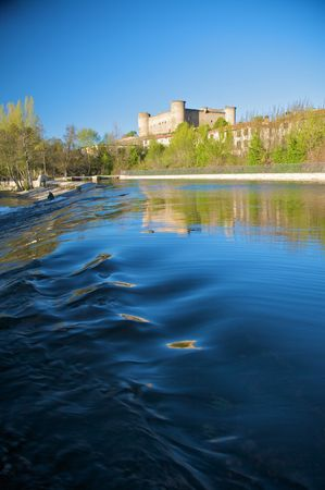 river Tormes with bridge at Barco village in avila spain photo