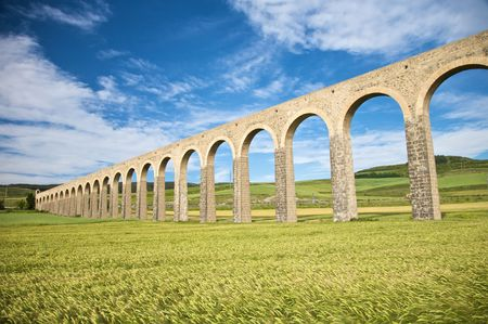 navarra: roman aqueduct at pamplona city in navarra spain
