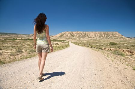 desert of Bardenas Reales at navarra in spain Stock Photo
