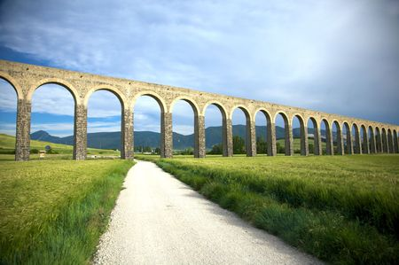 roman aqueduct at pamplona city in navarra spain