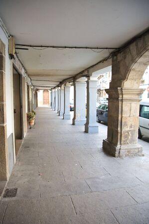 portico: arcade at hervas village in caceres spain