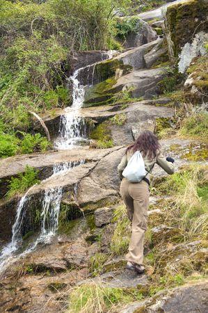 avila: woman hiking at gredos mountains in avila spain