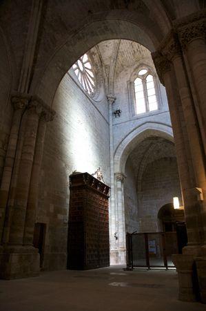 portico: inside public cathedral at tudela in navarra spain