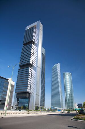 building skyscrapers at madrid city in spain photo