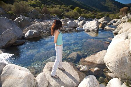 woman trekking at gredos mountains in avila spain photo
