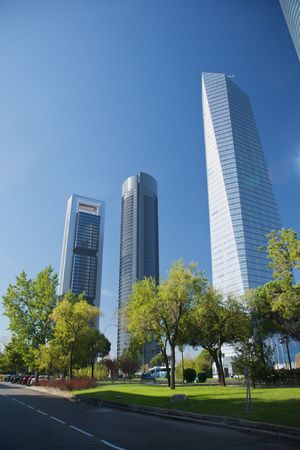 building skyscrapers at madrid city in spain Stock Photo
