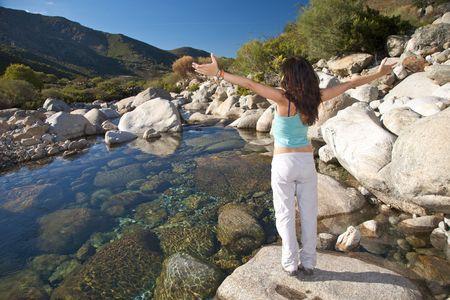 woman trekking at gredos mountains in avila spain photo