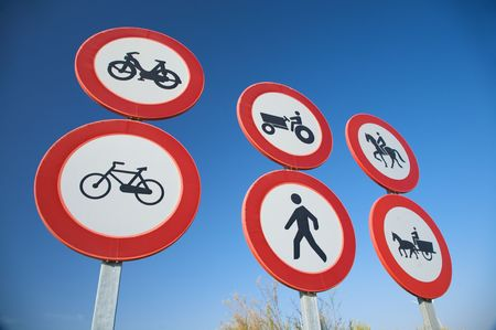 tractor warning: group of highway access prohibit signals in spain