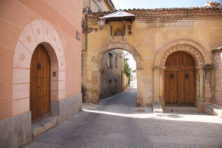 segovia: ancient public free access street at segovia city Stock Photo